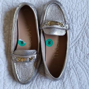 Calvin Klein Gold Leather Loafers, size 8
